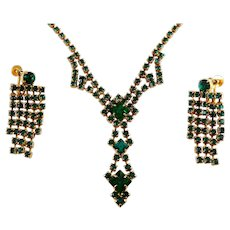 1950's Emerald Green Rhinestones Drop Necklace & Earrings, Gold Tone, Prong-Set Stones