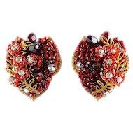 Vintage EUGENE Hand Beaded Red Floral & Rhinestone Large Clip Earrings