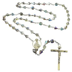 Vintage Excel Sterling Silver & AB Crystal Rosary, Italy