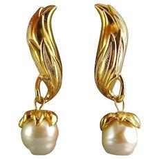 FENDI Golden Wing & Baroque Pearl Drop Earrings