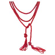 1920's Flapper Red Glass Beads Crochet Lariat Necklace with Tassels