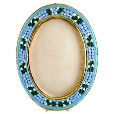 Vintage Florence, Italy, Floral Mosaic Oval Frame on Easel, Like New, Glass Pane Cover