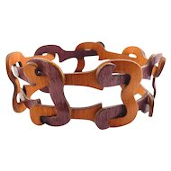 Forestique African Rosewood Links Steamed Wood/ Bentwood Bracelet, Adjustable