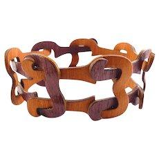 Forestique African Rosewood Links Steamed Wood/ Bentwood Bracelet, Adjustable