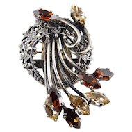 Vintage French Antiqued Silver Crescent & Multi Citrine Rhinestones Dress Clip, Brooch Pin, Pendant - Convertible