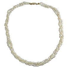 Freshwater Pearl, 3 Strand/Row Necklace, Gold-Filled Clasp
