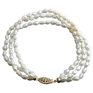 Freshwater Pearls 3 Row Bracelet, Gold-Filled Clasp, 7 1/2""