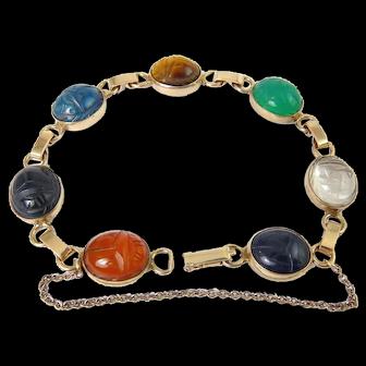 1950's Gold Filled Carved Hardstone Gem Scarabs Bracelet, 7 Stones