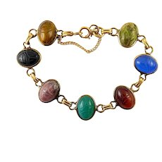 Mid Century Gold Filled 7 Carved Gemstone Scarabs Bracelet, Safety Chain