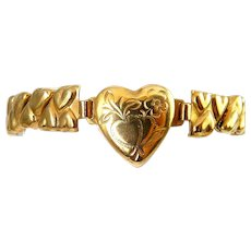 Vintage Gold-Filled Baby or Child's Expansion Stretch Bracelet with Heart