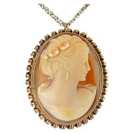 Carved Shell Cameo in Rose Gold Filled Spiral Coil Setting, Pin & Pendant