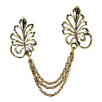 Vintage Gold-Filled Fern Leaves Chatelaine Pins Brooch, Triple Chain, Sweater Guard, Eyeglass Holder Pin