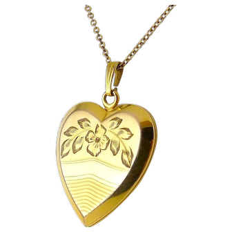 "Gold-Filled Heart Locket with Engraved Flowers, 18"" Necklace"