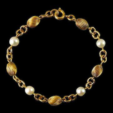 1960's Gold-Filled Spiral Ribbed Oblong Beads & Pearls Bracelet