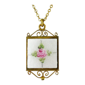 1940's Gold Filled Square Pendant, White & Pink Rose Guilloche' Enamel, GF Necklace