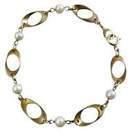 Mod Gold Filled Oval Link & White Pearl Bracelet - Curtis Creations