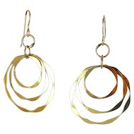"14K Gold-Filled Hammered Triple Hoop Earrings, 2"" High, Pierced Hoops"