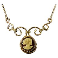 Rose Gold-Filled Wire Frame Plastic Cameo Pendant Necklace