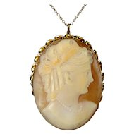 Gold-Filled Shell Cameo Pin / Pendant, Convertible - Victorian Woman Wearing Pearls