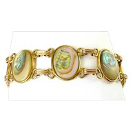 Vintage Gold-Filled Bracelet with Oval Pastel Abalone Links