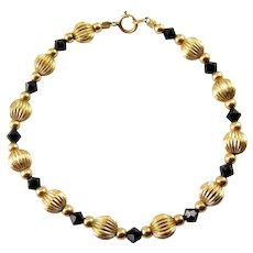 Gold-Filled Ribbed Beads & Black Glass Bicones Bracelet