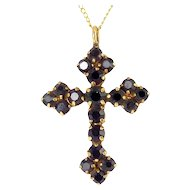 Gold Filled Cross with Garnet Red Rhinestones, Gold-Filled Chain Necklace