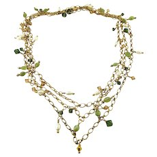 Gold-Filled 52-Inch Chain Necklace with Peridot, Pearl & Crystal Dangles