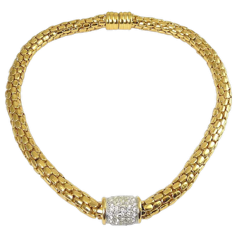 Chunky Gold-Plated Cobblestone Mesh Link Tubular Collar Necklace with Rhinestone Enhancer