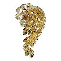 1970's Gold Tone Paisley Rhinestone Pin, Mesh Frame with Bezel-Set Crystal Drops