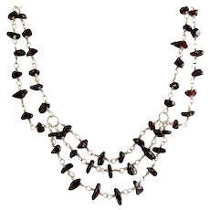 Sterling Silver & Garnet Nugget Beads 3 Row Festoon Necklace, Adjustable, Draping Strands Active