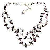 Sterling Silver & Garnet Nugget Beads Festoon Necklace, Adjustable