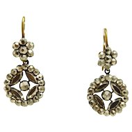 Georgian Victorian Cut steel Earrings, Round Drops, 9K Pierced Gold Tops
