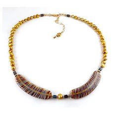 Artisan Gold Pearl Necklace with Hand-Blown Glass Feathers Centerpiece, G.F. Clasp