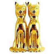 Golden Egyptian Standing Cats Brooch Pin