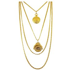 Goldette 4-Chains, Spinner Wax Seal & Watch Fob Necklace