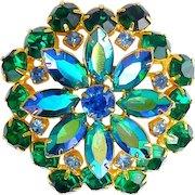 1960's Large Emerald Green, AB  & Sapphire Blue Rhinestone Flower Brooch Pin