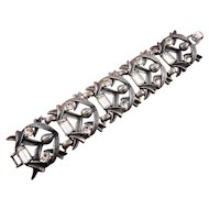 Wide Gunmetal Modernist Style Bracelet with Lg. Crystal Rhinestones - Old Store Stock