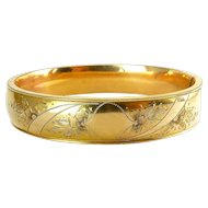 Gold-Filled Hinged Bangle with Floral Engraving and Monogram Panel