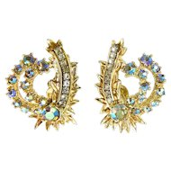 HAR AB Rhinestone Flower Spray Earrings - Clip On