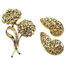 Hollycraft 1960's Gold Aurum Rhinestones Flower Bouquet and Clip Earrings Set