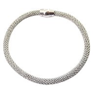 Italian Sterling Silver Beaded Mesh Cord Bracelet, Magnetic Clasp