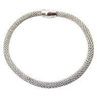 Italian Sterling Silver Beaded Mesh Cord Bracelet, Magnetic Clasp