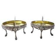 Rare Pair 1850's Italian Sterling Silver Divided Oval Master Salts, 191 Grams
