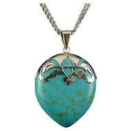 "BIG Sterling Silver & Turquoise Howlite Teardrop Pendant, 2-Sided,  Sterling Heart-Cut Top, 36"" Chain"