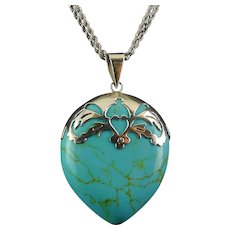 """BIG Sterling Silver & Turquoise Howlite Teardrop Pendant, 2-Sided,  Sterling Heart-Cut Top, 36"""" Chain"""