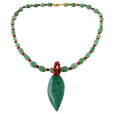 Green Jadeite Jade & Red Coral Beads Marquise Pendant Necklace
