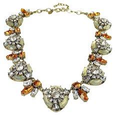 Joan Rivers Crystal Bee Opaline & Citrine Rhinestones Statement Necklace