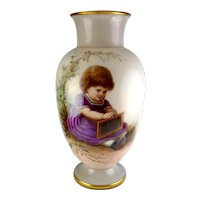 Antique Josef Ahne Bohemian Opaline Vase, Enameled with Girl and Slate, Exceptional Detail & Condition