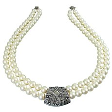 Judith Jack White Faux Pearls, Sterling & Marcasites 2-Row Necklace