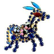 DeLizza & Elster Juliana Blue Rhinestone Donkey Pin, Hand-Painted Beads, Swinging Tail
